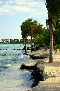 Beach erosion at Playa del Carmen